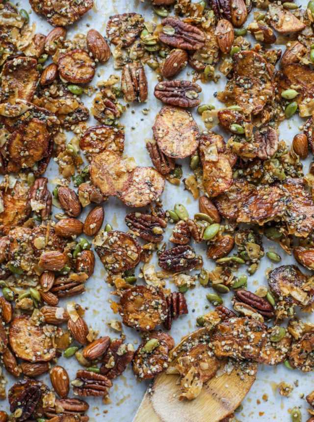 snack mix with pecans, plantain chips and pumpkin seeds