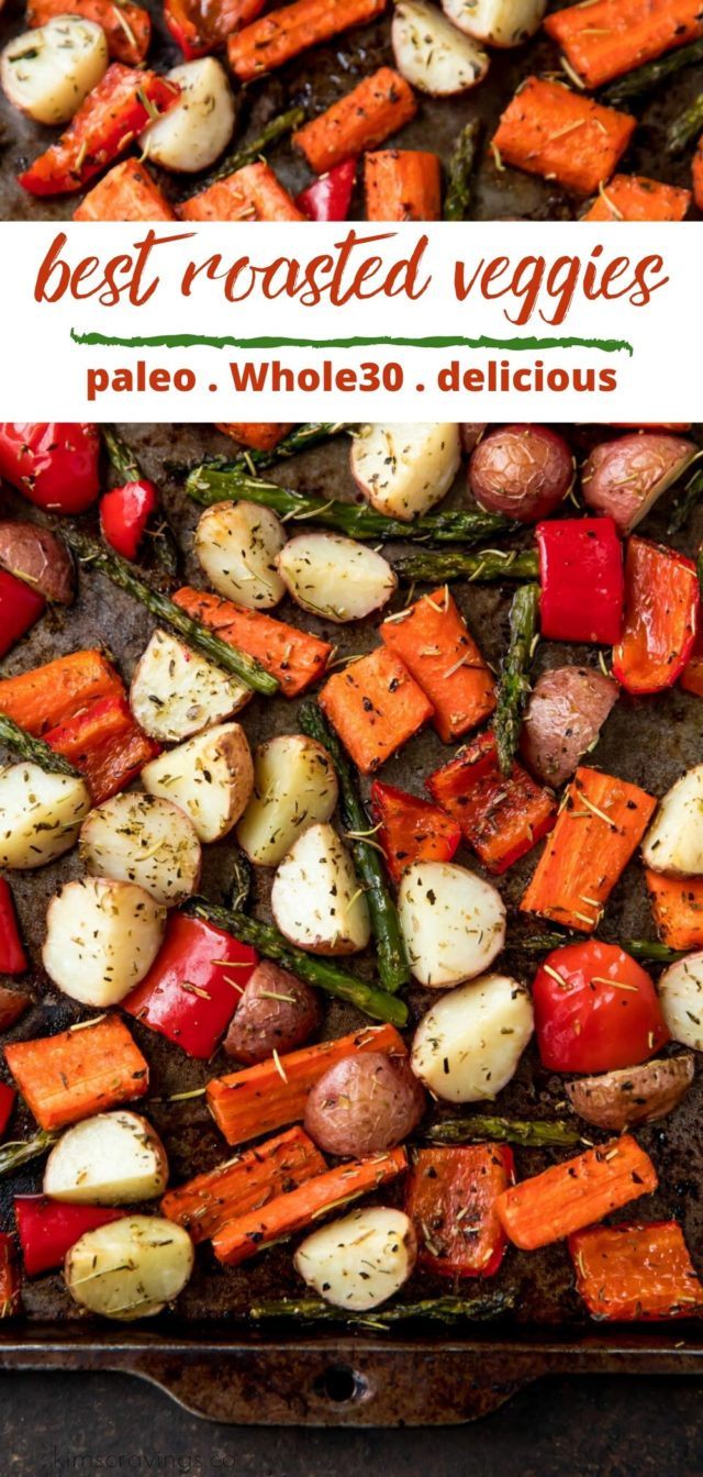 roasted veggies on a sheet pan with seasonings
