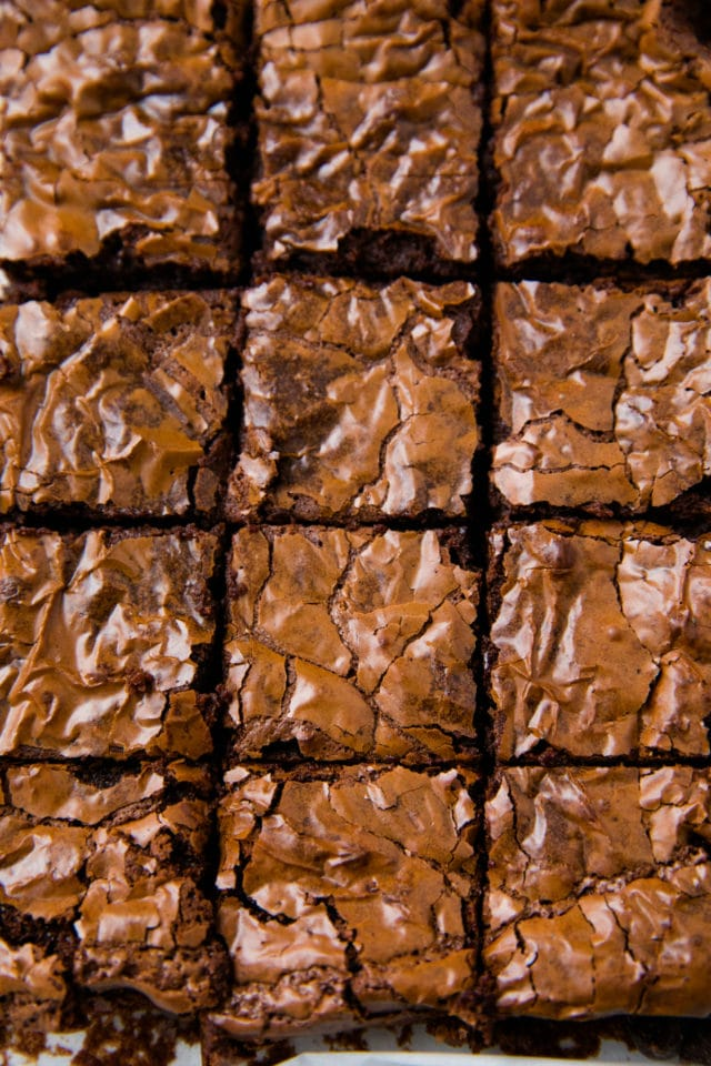 crinkle top brownies cut into squares