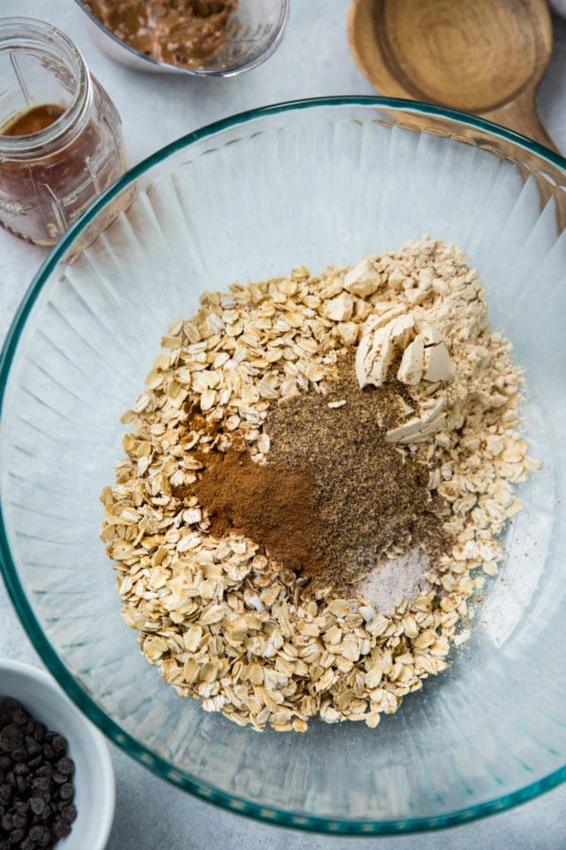 ingredients for granola in a glass bowl