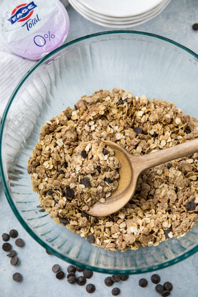 chocolate chips mixed in homemade granola
