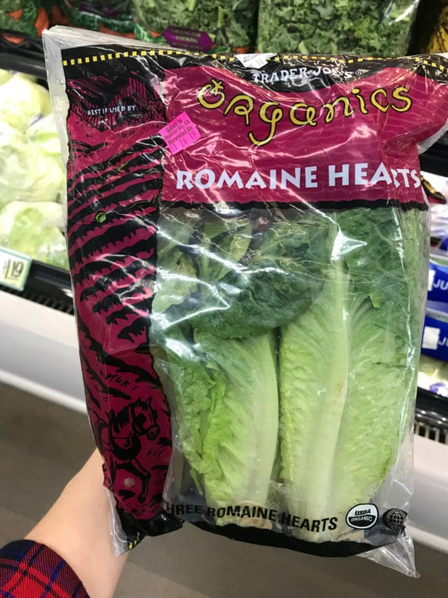 organic romaine hearts from Trader Joe's