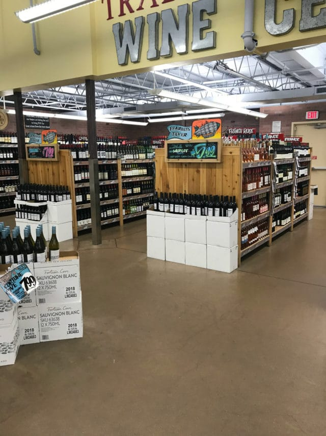 wine and beer section at Trader Joe's