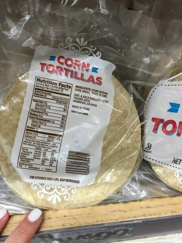 Ingredients in corn tortillas from Trader Joe's