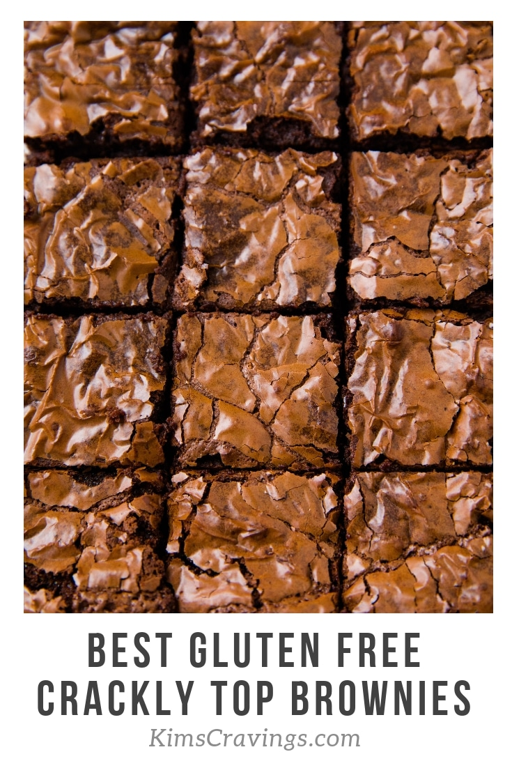 The best gluten free crackly top brownies are light, a little fudgy, extra chocolatey, perfectly sweet, with the most flakey, crinkly tops ever. SO GOOD! #brownies #dessert #glutenfree