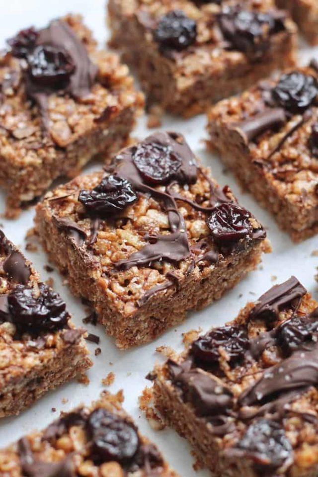 chocolate cherry rice crispy treats cut into squares