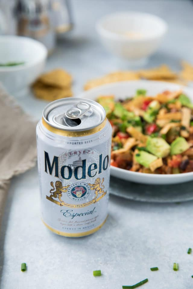 Modelo Beer served with chili for Cinco de Mayo