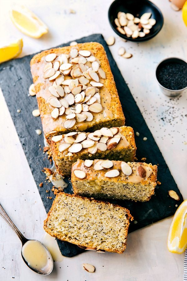 lemon poppyseed bread sliced and topped with sliced almonds