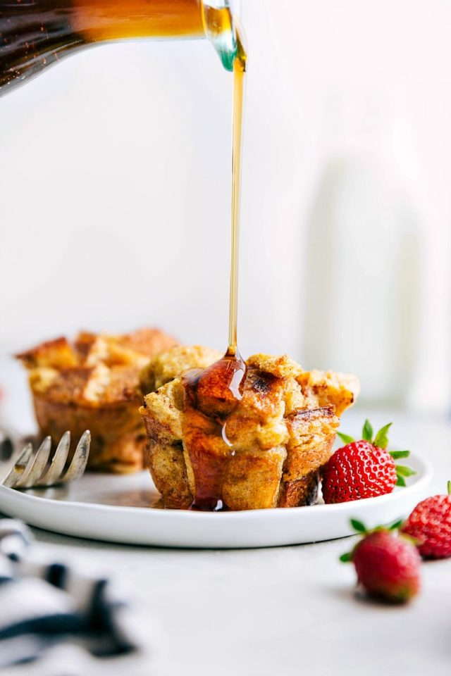 French toast cups with syrup pouring over the top