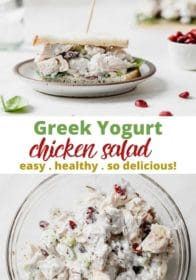 making a healthy Greek yogurt chicken salad sandwich