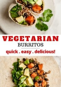 vegetarian burrito filled with rice, black beans and sweet potato