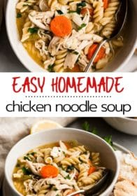 slow cooker chicken noodle soup seri in a white bowl