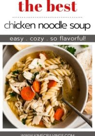 easy chicken noodle soup in a white bowl with a spoon and bread