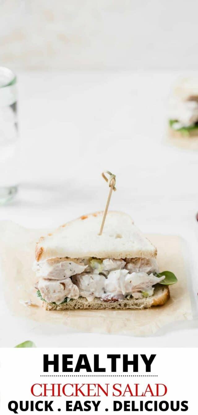 chicken salad sandwich served on white bread