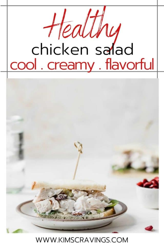 This healthy chicken salad with Greek yogurt is made with dried cranberries, celery, almonds, and chicken.