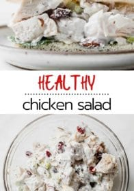 chicken salad made in a glass bowl and served on a small white plate