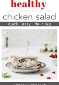 healthy chicken salad sandwich on a white plate