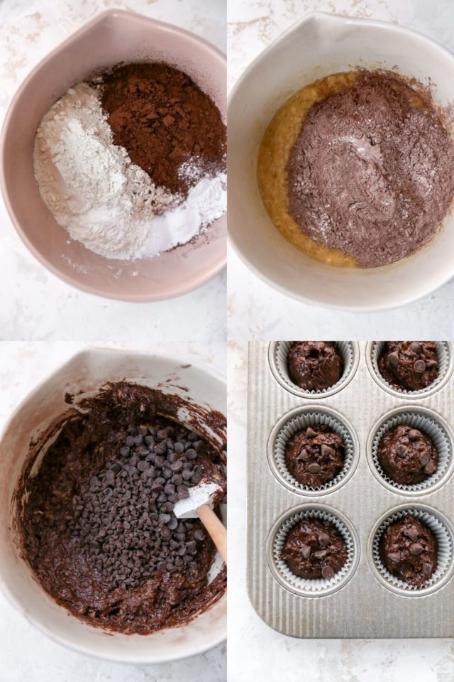 mixing chocolate chips into muffin batter for chocolate muffins