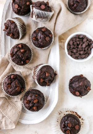 double chocolate banana muffins near a bowl filled with chocolate chips