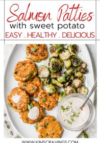healthy sweet potato salmon cakes served with Brussels sprouts and dill sauce