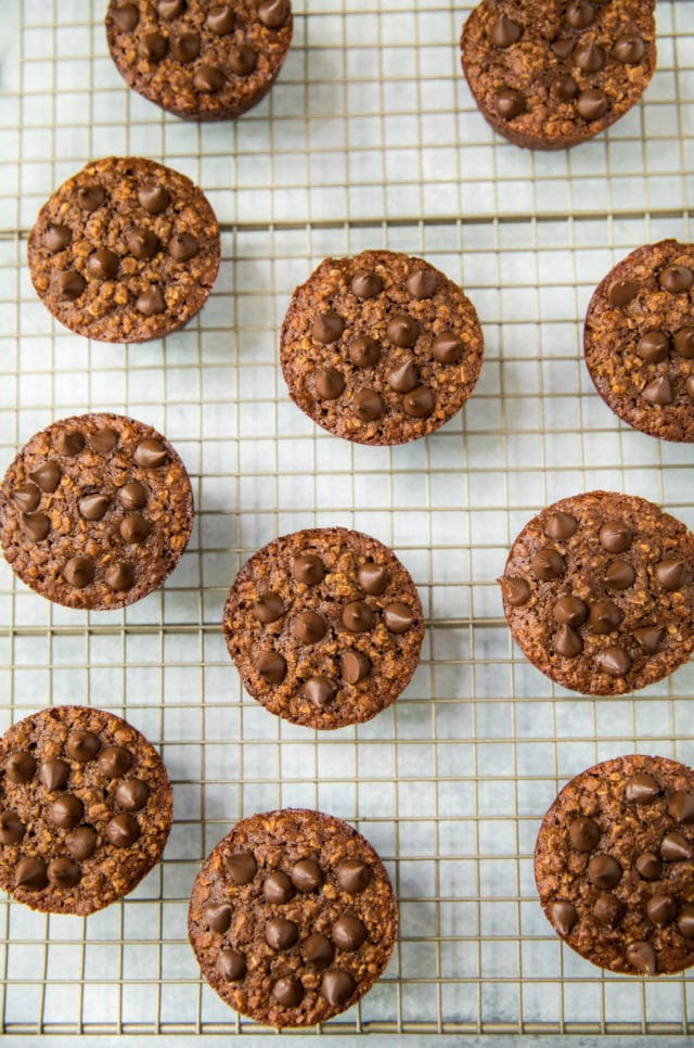 chocolate oatmeal muffins on a wire cooling rack