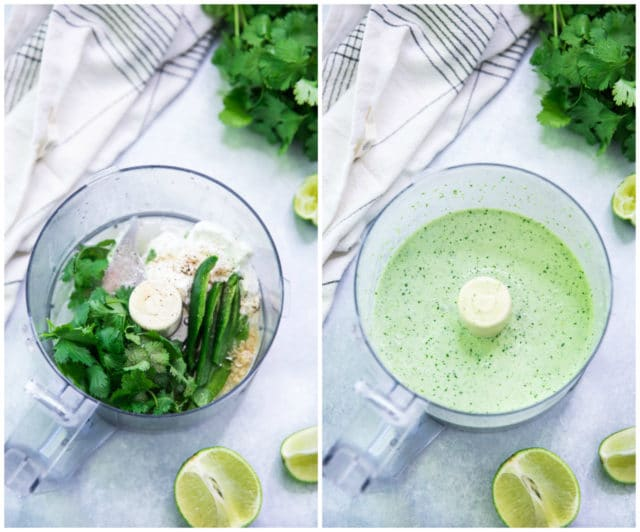 making cilantro lime sauce in a food processor