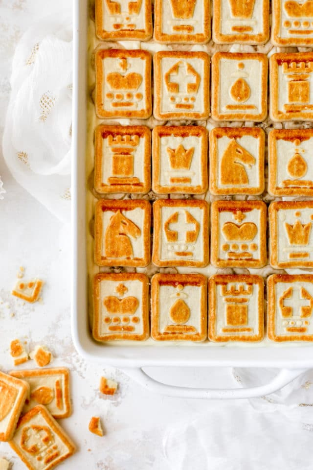 best banana pudding topped with Chessman cookies
