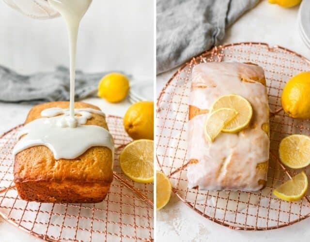 pour the lemon glaze over the pound cake
