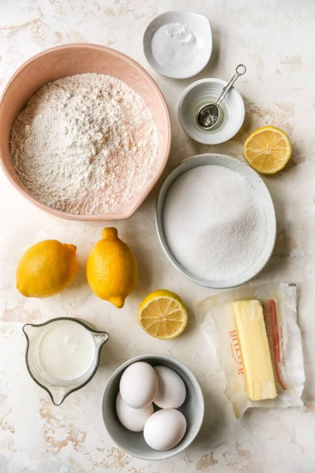ingredients for easy lemon pound cake recipe
