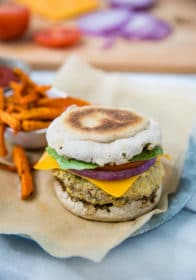 juicy turkey burger served on an English muffin with sweet potato fries