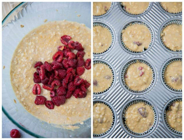 raspberry muffin ingredients in a large glass mixing bowl and muffin batter in a muffin pan