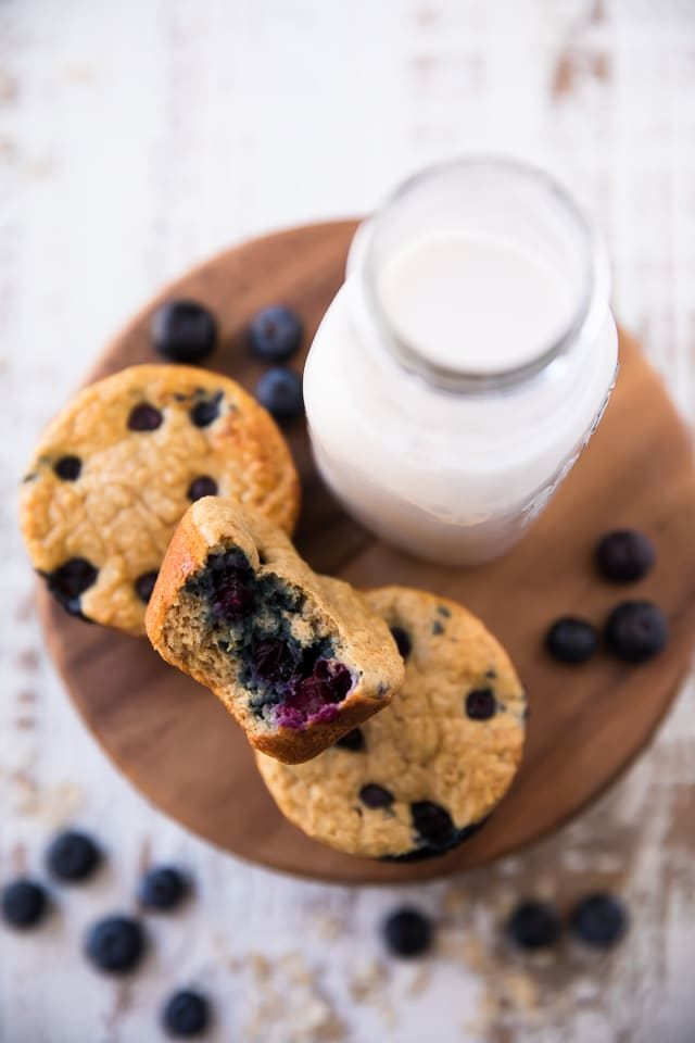 blueberry muffins next to a glass of milk