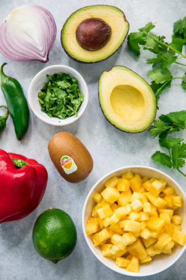 ingredients for kiwi pineapple salsa