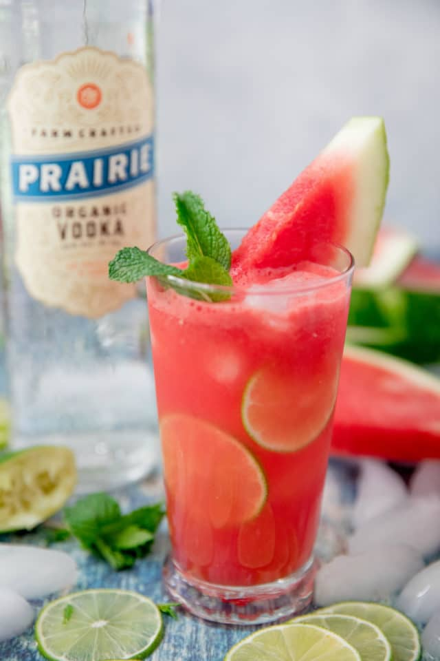 Vodka Watermelon Cocktails garnished with lime and fresh mint