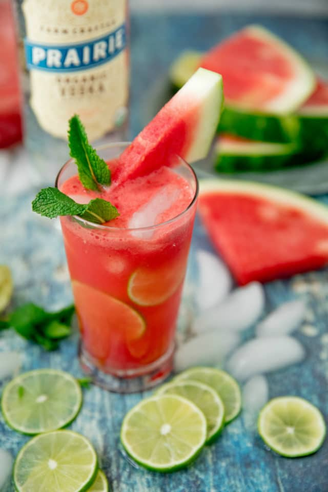 vodka cocktail made with watermelon and lime