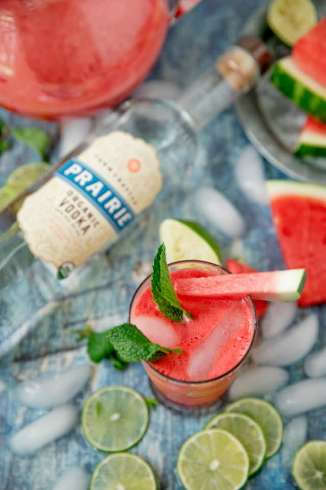 watermelon cocktail near a bottle of Prairie Organic Vodka