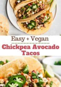Vegan tacos made with chickpeas, avocado and slaw