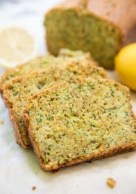 slices of Lemon Zucchini Bread near a sliced lemon