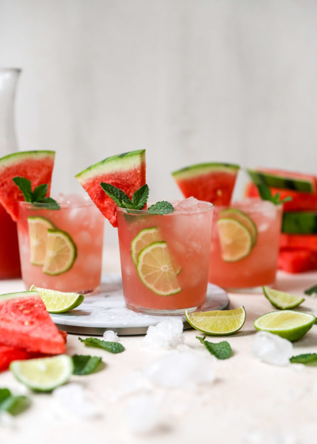 watermelon cocktails made with vodka and fresh watermelon