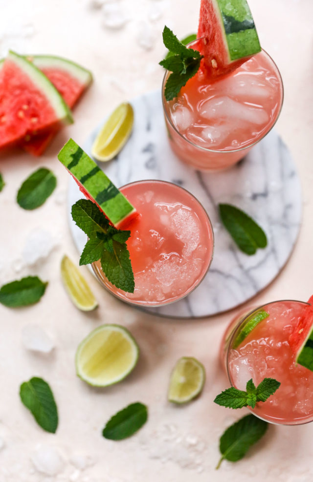 cocktails made with watermelon, fresh lime and fresh mint
