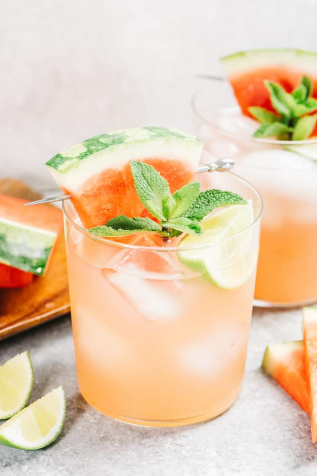 vodka watermelon cocktails garnished with mint and fresh watermelon