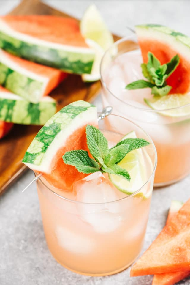 watermelon cocktails served with fresh watermelon and fresh mint
