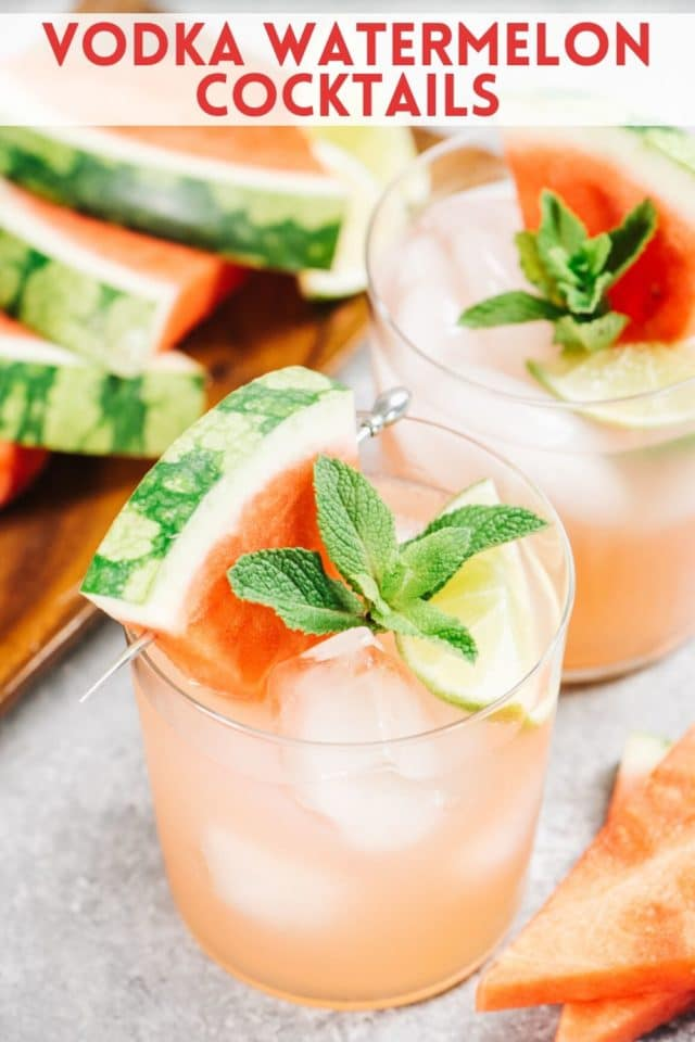 watermelon cocktail served with fresh watermelon and mint
