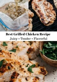 easy grilled chicken recipe shown marinating