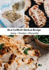 easy grilled chicken recipe shown grilling