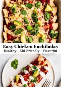 easy chicken enchiladas topped with cilantro and diced avocado