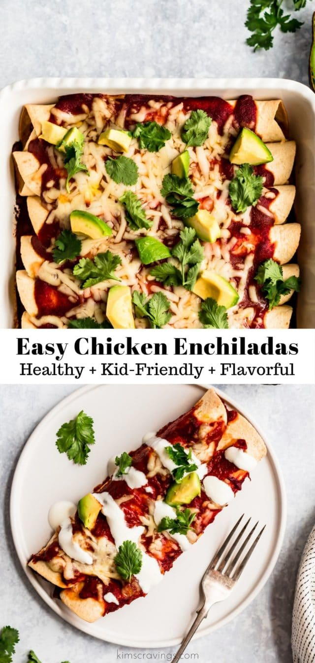 easy chicken enchiladas topped with cilantro and diced avocado