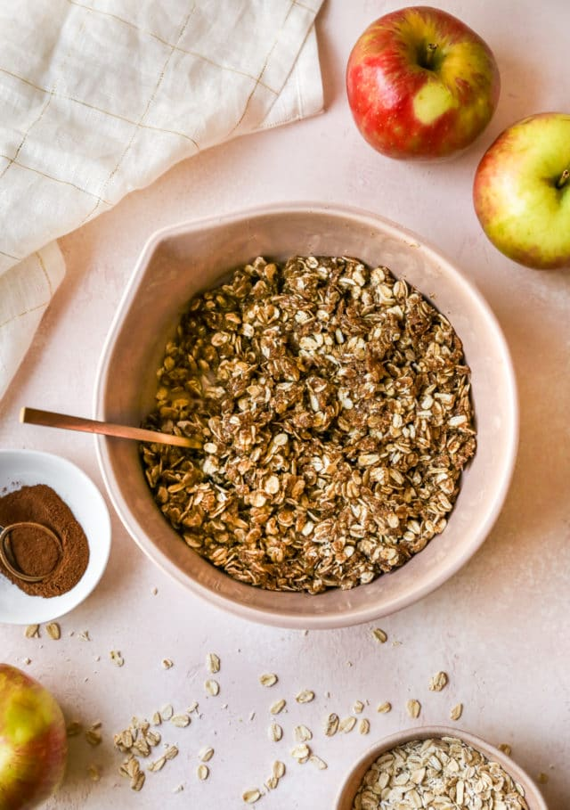 oat mixture in a large bowl for apple crisp