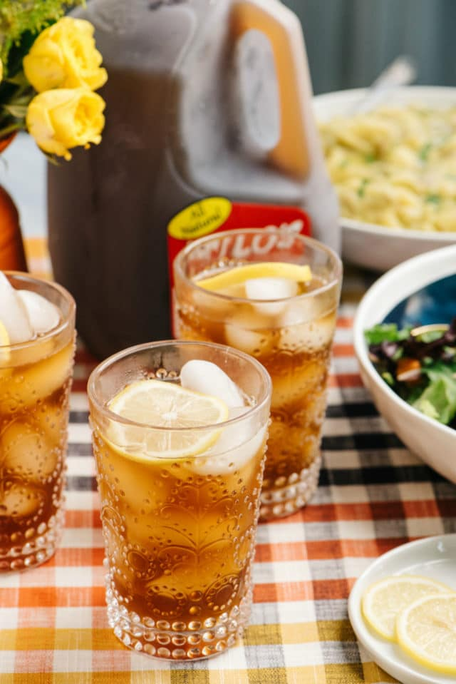 holiday table with iced tea and side dishes