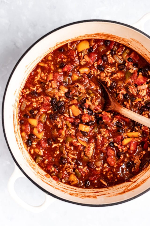 healthy turkey chili cooking in a large pot